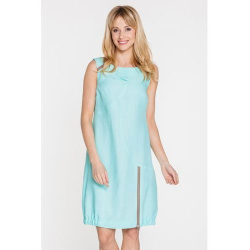 Błękitna sukienka z lnu ze ściągaczem na dole - Metafora, 1 rozmiar