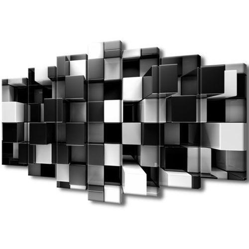 Cenodi Obraz tryptyk czarne i białe bloki 3d abstrakcja 3