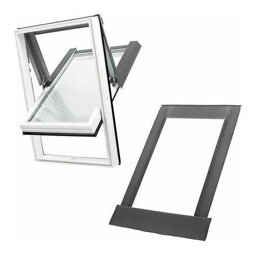 Okno dachowe skylight 78x118 białe oblachowanie szare + kołnierz falisty zestaw marki Dobroplast
