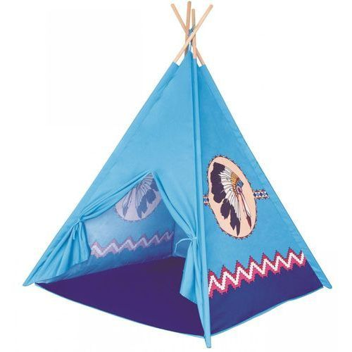 namiot dziecięcy teepee - kolor niebieski, 4 ściany marki Bino