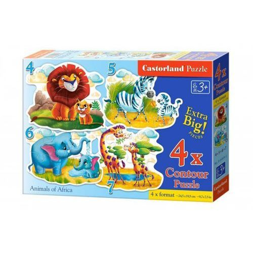 Castor 4x1 puzzle konturowe 4-5-6-7 animals of africa - (5904438004454)