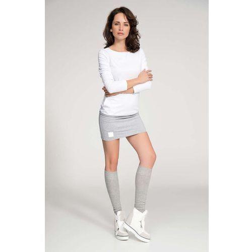 Biało szara sukienka dopasowana mini z rękawem 3/4 marki Makadamia