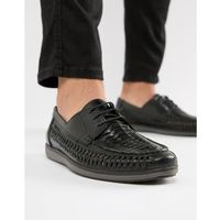 Red Tape Woven Lace Up Shoes In Black - Black