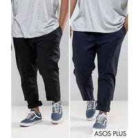 ASOS PLUS 2 Pack Slim Chinos In Black & Navy SAVE - Multi