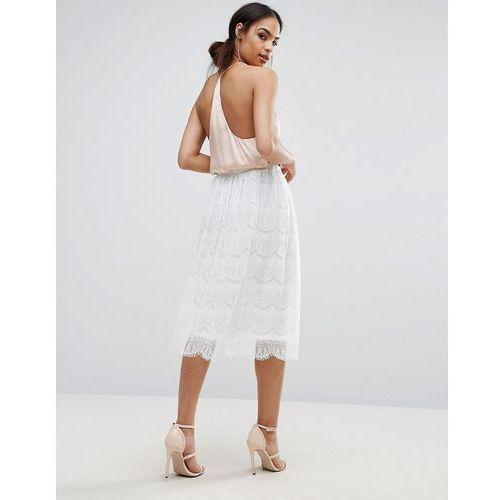 Boohoo lace midi skirt - white