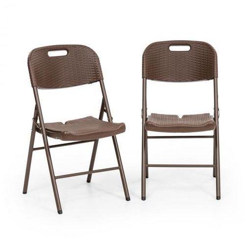 Blumfeldt Burgos Seat krzesło składane 2 szt. HDPE stal technorattan brązowe (4060656154102)
