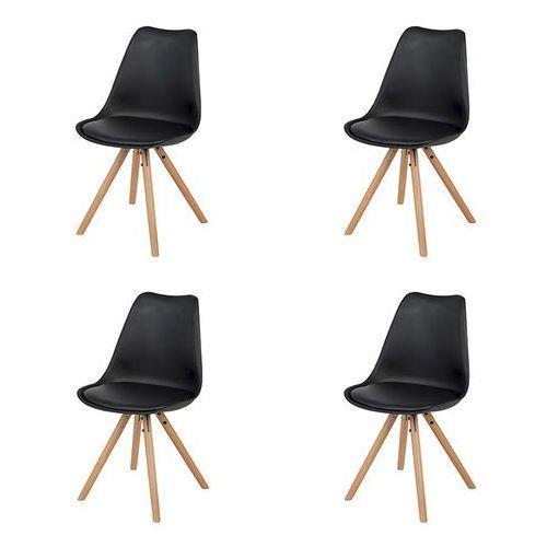 Qazqa Zestaw 4 krzeseł z tworzywa sztucznego w kolorze czarnym z drewnianymi nogami - warden