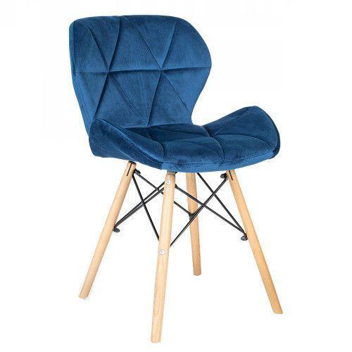 Nowoczesne krzesło skandynawskie art118 niebieski welur marki Meblemwm