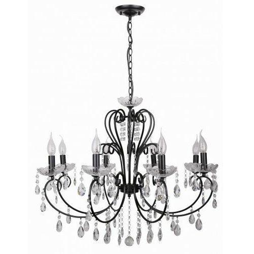 AURORA Czarna z kryształkami 8xE14 Lampa wisząca żyrandol Candellux 38-73747, kolor Czarny