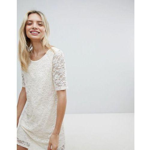 Monki lace swing dress - white