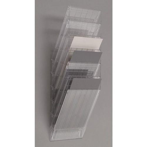 Durable Uchwyt ścienny na prospekty, format pionowy, 6 x din a4, opak. 2 szt., przezrocz