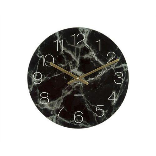 Zegar stołowo-ścienny Glass Clock black Marble by Karlsson, kolor czarny