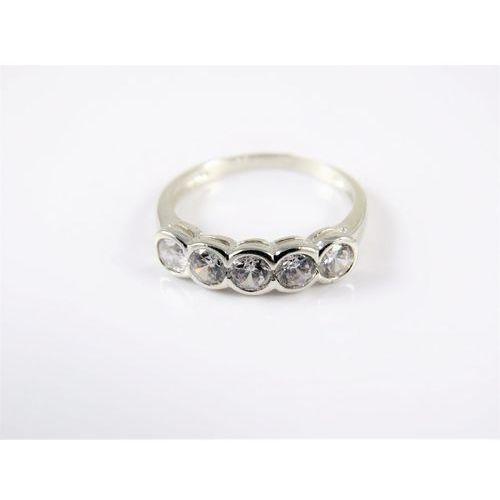 Srebrny pierścionek 925 BIAŁE OCZKA r. 13, kolor szary