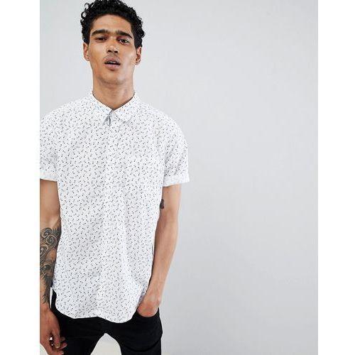 Esprit Slim Fit Short Sleeve Shirt In Digital Pineapple Print - White, kolor biały