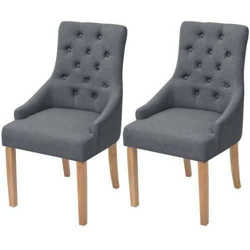 Dębowe krzesła do jadalni, tapicerowane tkaniną, szare, 2 szt.