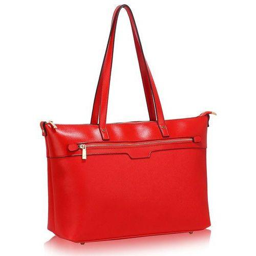 Duża czerwona klasyczna torebka na ramię - czerwony, kolor czerwony