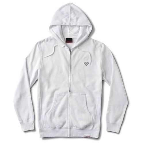 Bluza - micro brilliant zip hoodie white (wht) rozmiar: l marki Diamond