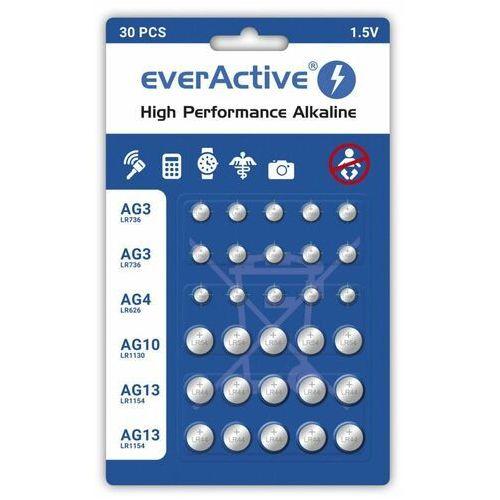 Everactive Baterie alkaliczne mini 10 x g3 / lr41, 5 x g4 / lr626, 5 x g10 / lr1130, 10 x g13 / lr1154 zestaw 30 sztuk