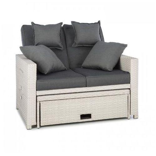 komfortzone sofa wypoczynkowa 2-osobowa technorattan składane stoliki biała marki Blumfeldt