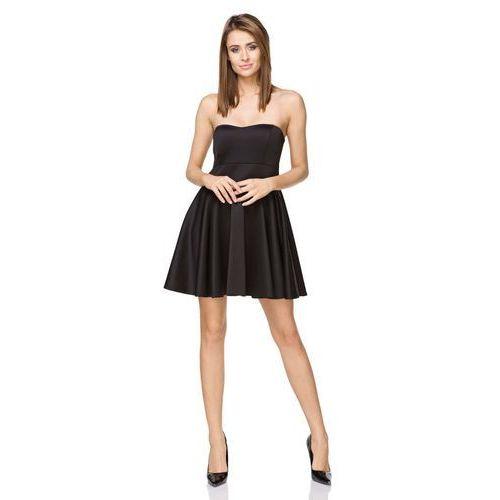 Czarna Wieczorowa Gorsetowa Czarna Sukienka z Szerokim Dołem, kolor czarny