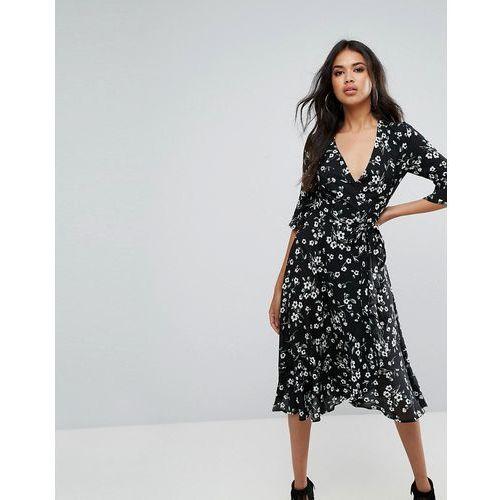 Boohoo Floral Ruffle Trim Midi Dress - Black, kolor czarny
