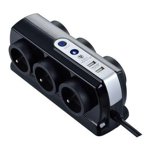 Przedłużacz Masterplug 6 x 16 A 3 x 1,5 USB 2 m czarny, SRGDSU62PB/F