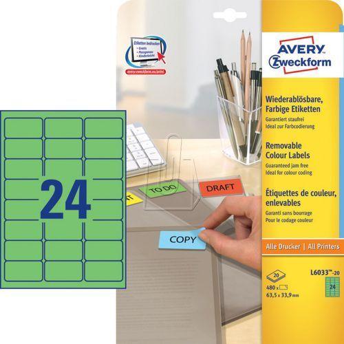 Etykiety A4 usuwalne zielone 63,5mm x 33,9mm 20 arkuszy Avery Zweckform L6033-20 (4004182288245)