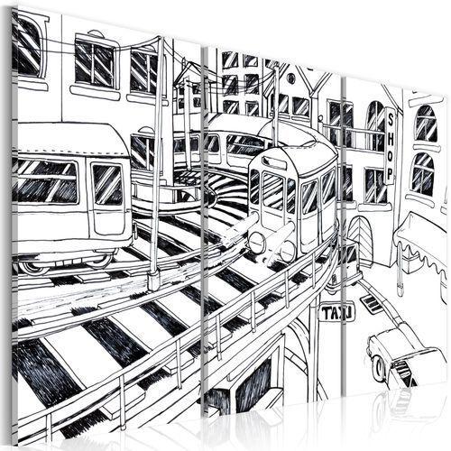 Artgeist Obraz - futurystyczna stacja kolejowa - black and white