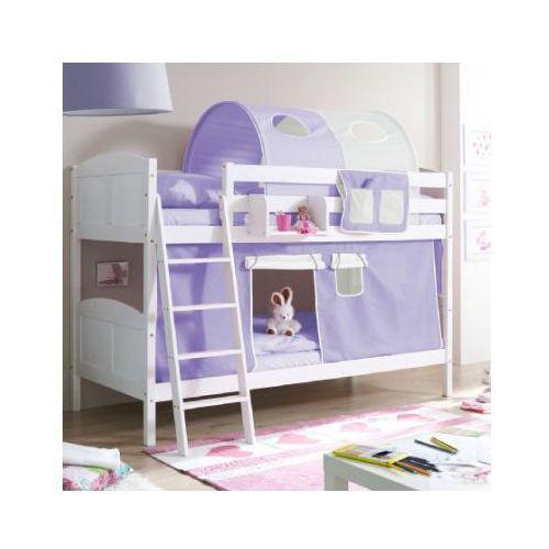 Ticaa kindermöbel Ticaa łóżko piętrowe erni country białe drewno sosnowe kolor fioletowo-beżowy