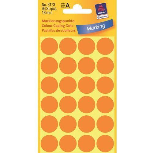 Kółka samoprzylepne Avery Zweckform 3173 18mm/96szt. pomarańczowe
