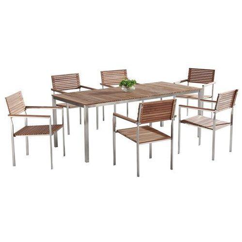 Beliani Teak-stal szlachetne meble ogrodowe stół 200cm 6 x krzeseł viareggio