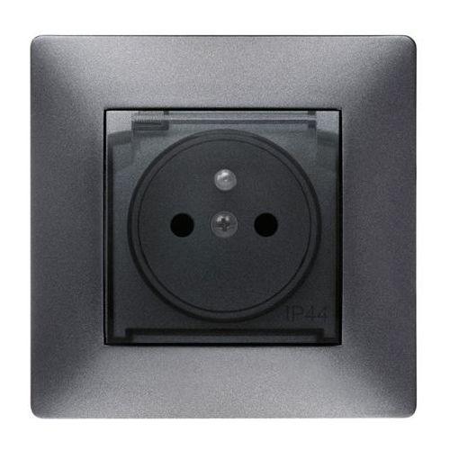 ELEKTROPLAST VOLANTE Gniazdo 2P+Z IP44 klapka dymna Grafitowy 2666-08