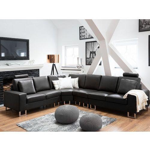 Stylowa sofa kanapa z czarnej skóry naturalnej narożnik stockholm marki Beliani