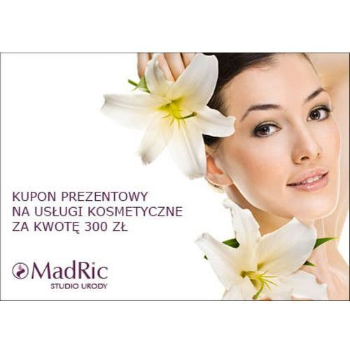 kupon prezentowy na usługi kosmetyczne za kwotę 300 zł. marki Madric. Tanie oferty ze sklepów i opinie.