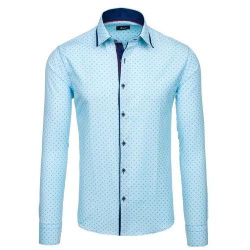 Turkusowa koszula męska we wzory z długim rękawem Bolf 6901 - TURKUSOWY, BOLF