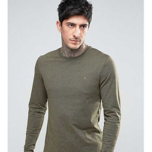 Farah Gloor slim fit long sleeve logo marl t-shirt in green Exclusive at ASOS - Green, kolor zielony