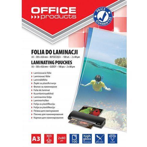 Office products Folia do laminowania , a3, 2x80mikr., błyszcząca, 100szt., transparentna