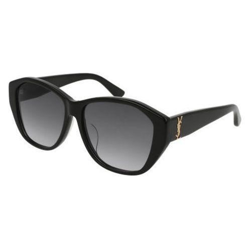 Okulary Słoneczne Saint Laurent SL M8/F Asian Fit 001, kolor żółty