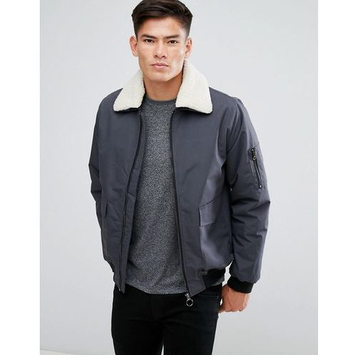 D Struct Detatcheable Borg Collar Flight Jacket - Grey