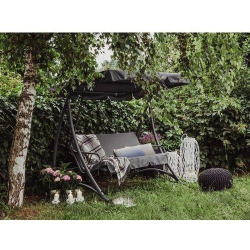 Huśtawka ciemnoszara - meble ogrodowe - stal - ławka - TEMPLE (7081454690279)