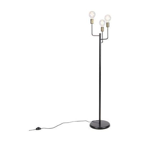 Nowoczesna lampa podłogowa czarna ze złotymi końcówkami 3-źródła światła - Facile