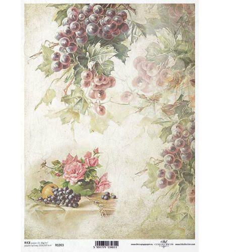 Papier ryżowy 297x210 mm - winogrona