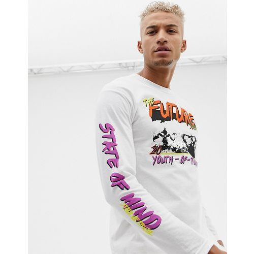 Boohooman long sleeve t-shirt with future print in white - white