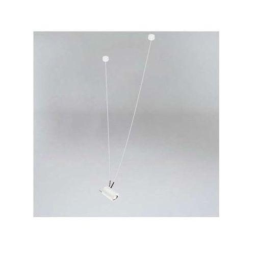 Lampa wisząca viwin 9024/gu10/bi/mo metalowa oprawa tuba zwis biały mosiądz marki Shilo