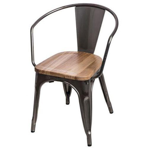 Krzesło paris arms wood sosna naturalna - metaliczny marki D2.design