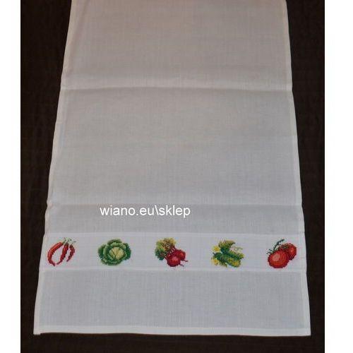 Ściereczka lniana ozdobna, haftowana. haft warzywa. 70x44 cm (bw-3) marki Twórczyni ludowa