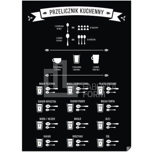 Follygraph Plakat przelicznik kuchenny czarny 30 x 40 cm