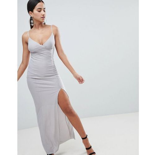 Ax paris cami slip maxi dress with side split - grey