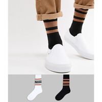 Asos design sports style socks with pro slogan and mustard stripes 2 pack - multi