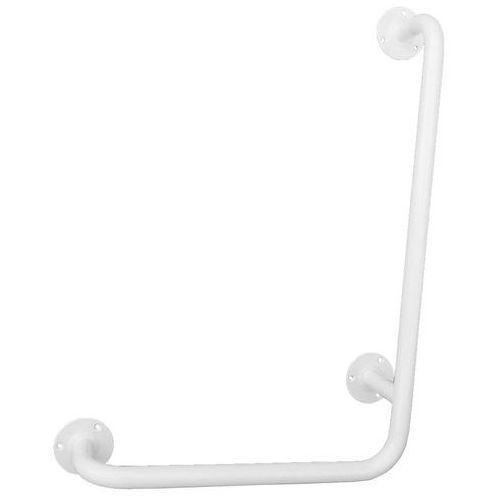 Uchwyt dla niepełnosprawnych kątowy typ L ⌀ 25 600 x 400 mm stal biała